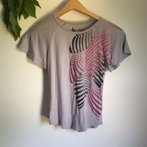 Tops - Pink and gray palm ruffle sleeve tee